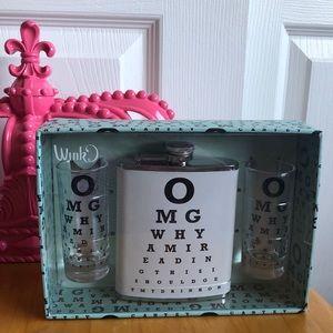 Wink Hip Flask & Shot Glass Set